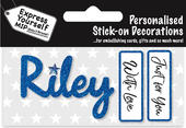 Riley Blue Name Sticker DIY Greeting Card Toppers
