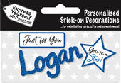 Logan Blue Name Sticker DIY Greeting Card Toppers