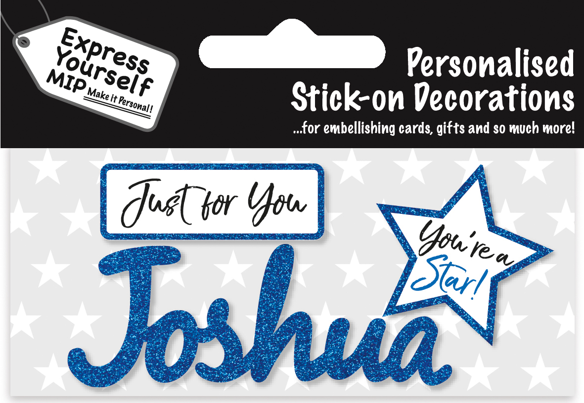 George Blue Name Sticker DIY Greeting Card Toppers Personalise Cards Gifts