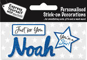 Noah Blue Name Sticker DIY Greeting Card Toppers