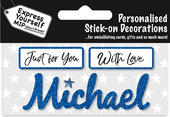 Michael Blue Name Sticker DIY Greeting Card Toppers