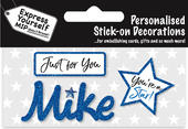 Mike Blue Name Sticker DIY Greeting Card Toppers