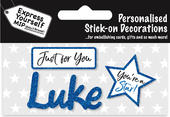 Luke Blue Name Sticker DIY Greeting Card Toppers