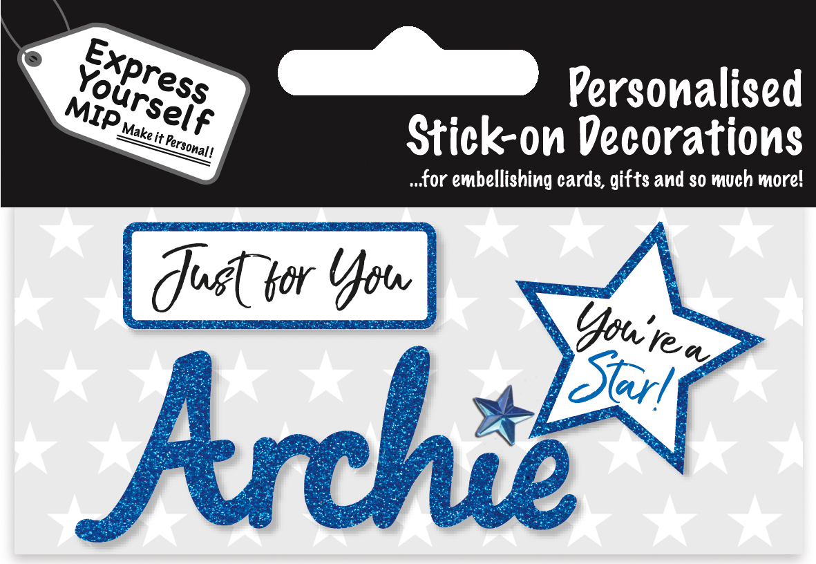 Archie Blue Name Sticker Diy Greeting Card Toppers Gift
