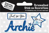 Archie Blue Name Sticker DIY Greeting Card Toppers