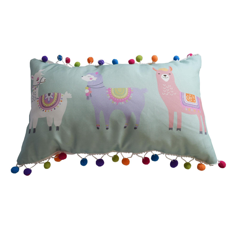 Llama Cushion With Pom Poms