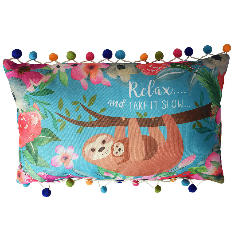Sloth Cushion With Pom Poms
