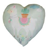 Llama Cushion Green Heart Shaped