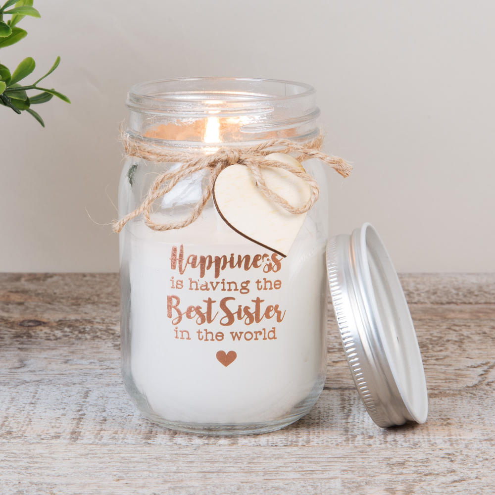 Best Sister Scented Candle In Mason Jar Lovely Gift