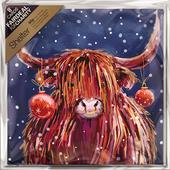 Pack of 8 Highland Cattle Shelter Fairdeal Charity Christmas Cards
