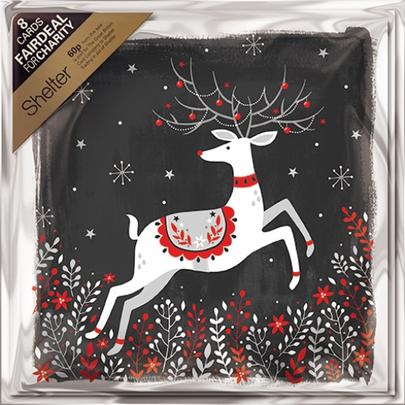 Pack of 8 Night Deer Shelter Fairdeal Charity Christmas Cards