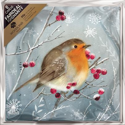 Pack of 8 Robin & Berries Woodland Trust Fairdeal Charity Christmas Cards