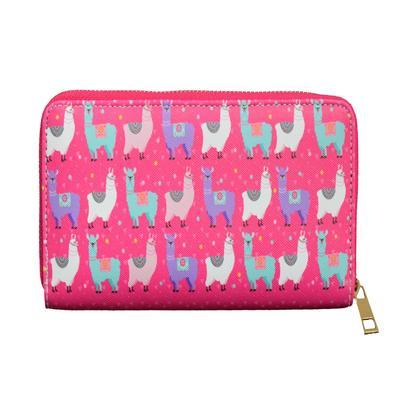 Pink Llama Pattern Zip Around Purse