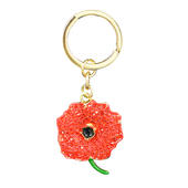 Diamante Sparkly Red Poppy Keyring