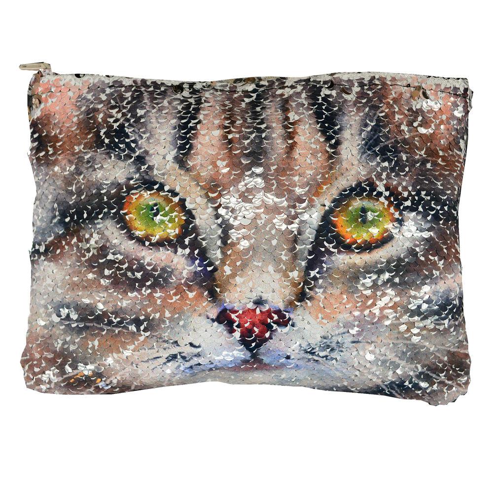 Reversible Sequin Cat Cosmetic Bag