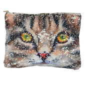 Reversible Sequin Cat Cosmetic Bag
