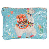 Reversible Sequin Llama Cosmetic Bag
