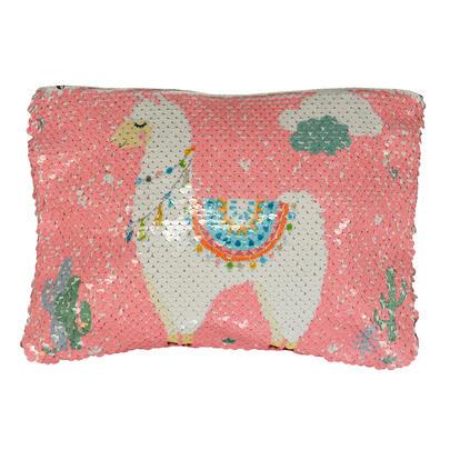 Reversible Sequin Llama Cosmetic Bag