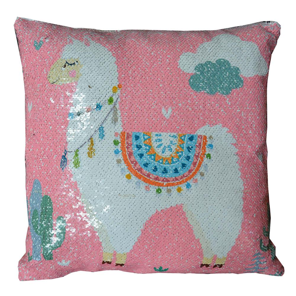 Reversible Sequin Pink Llama Cushion Square
