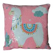 Reversible Sequin Pink Llama Cushion Square