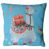Reversible Sequin Blue Llama Cushion Square