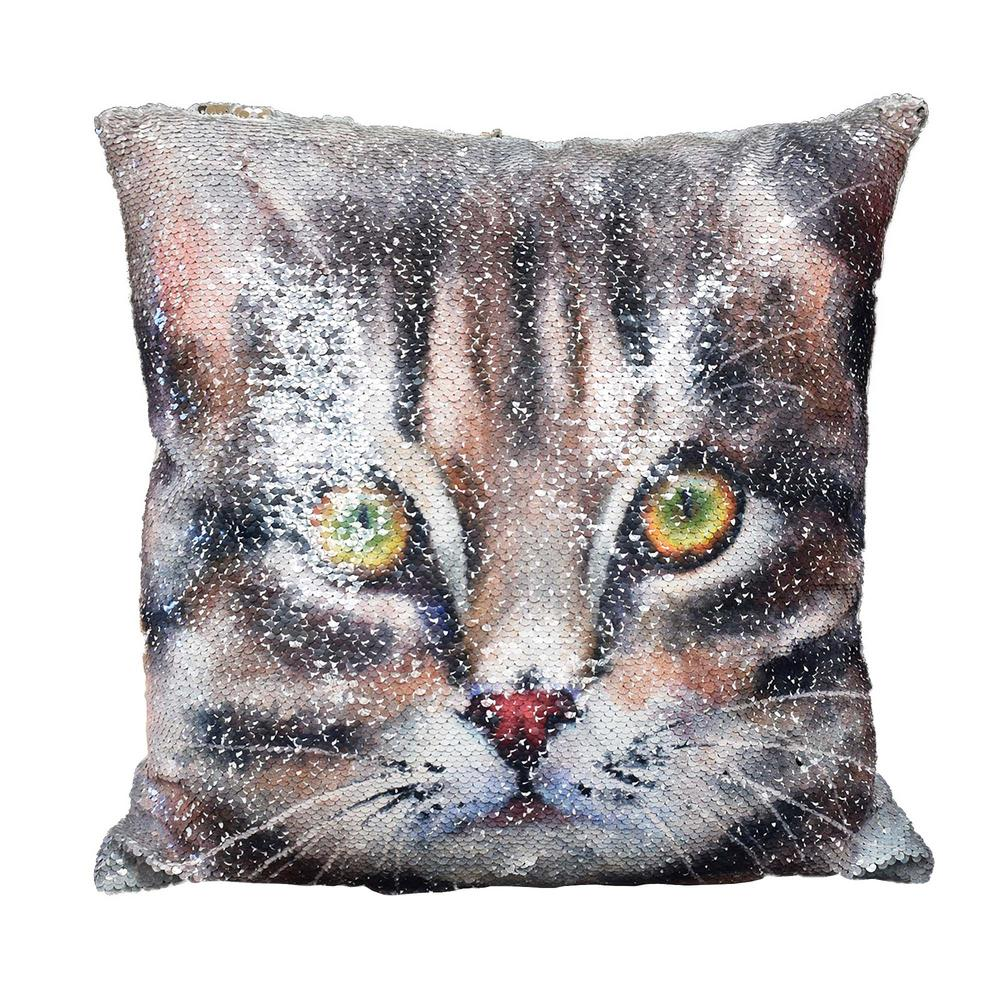 Reversible Sequin Cat Cushion Square