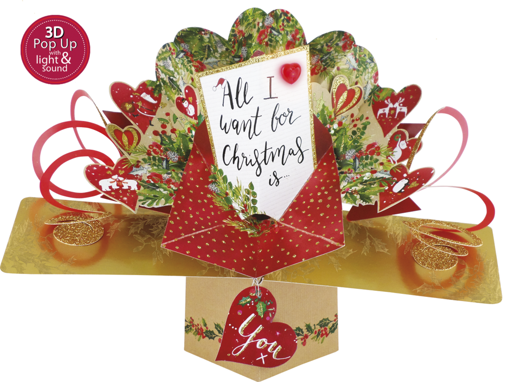 Musical 'All I Want For Christmas Is You'  3D Light & Sound Pop-Up Card