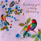 Birds Lovely Birthday Embellished Greeting Card