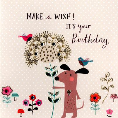 Make A Wish Embellished Birthday Greeting Card