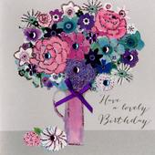 Flowers Lovely Birthday Embellished Greeting Card