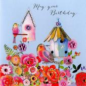 Bird Box Birthday Embellished Greeting Card
