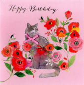 Cat Happy Birthday Embellished Greeting Card