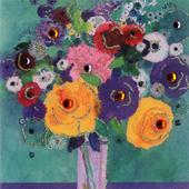 Vase Flowers Embellished Greeting Card Blank Inside