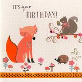 Woodland Fox Embellished Birthday Greeting Card