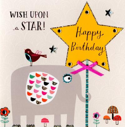 Wish Upon A Star Embellished Birthday Greeting Card