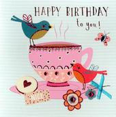 Tea & Birds Embellished Birthday Greeting Card