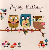 Cute Owls Embellished Birthday Greeting Card