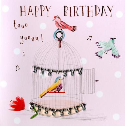 Singing Birds Embellished Birthday Greeting Card