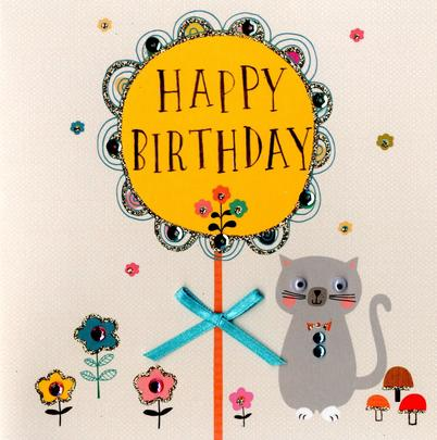 Cute Cat Embellished Birthday Greeting Card