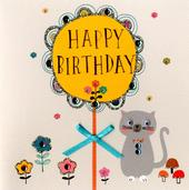 Cute Cat Embellished Birthday Greeting Card