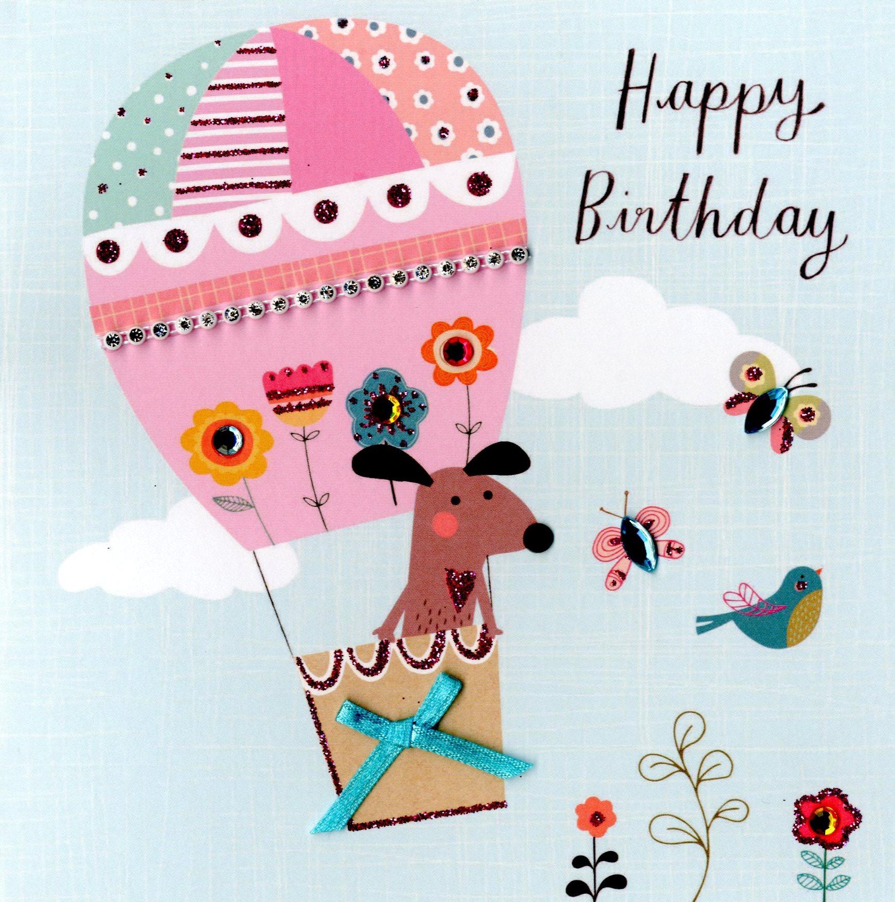 cute dog embellished birthday greeting card  cards