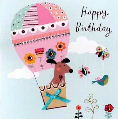 Cute Dog Embellished Birthday Greeting Card