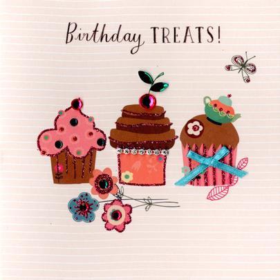 Cupcake Treats Embellished Birthday Greeting Card