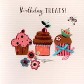 Cupcake Treats Embellished Birthday Greeting Card
