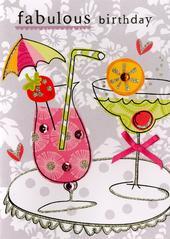 Cocktail Fab Birthday Embellished Greeting Card