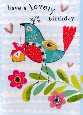 Bird Lovely Birthday Embellished Greeting Card
