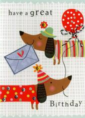 Sausage Dog Birthday Embellished Greeting Card