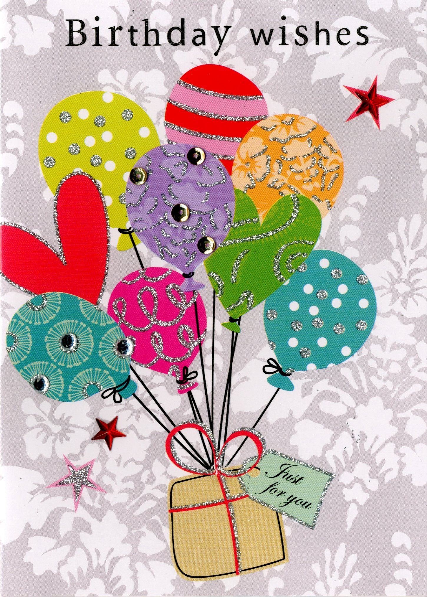 Birthday Wishes Embellished Greeting Card Hand-Finished Candy