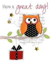 Birthday Owl Embellished Greeting Card