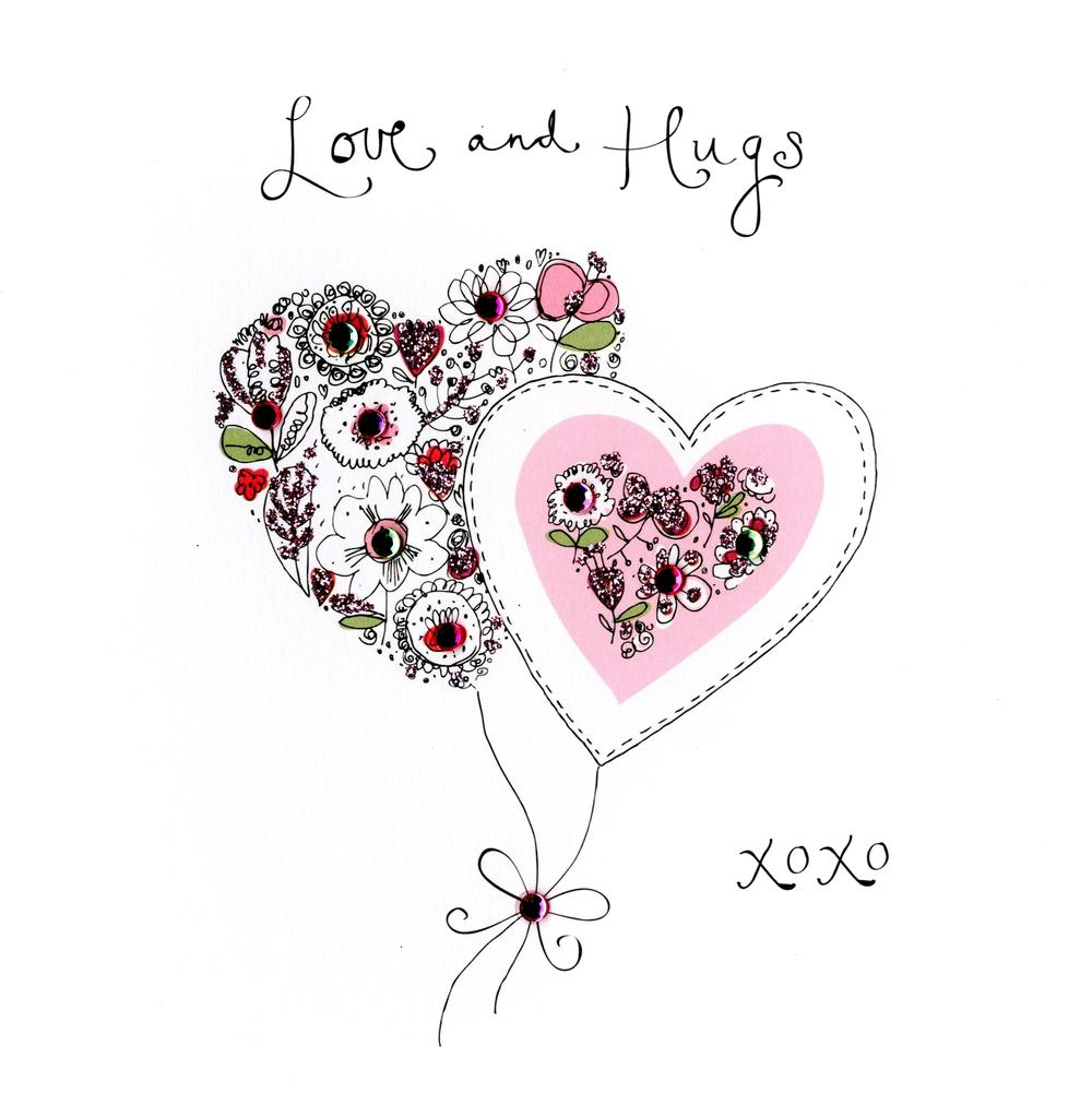 Love & Hugs Blank Inside Embellished Greeting Card